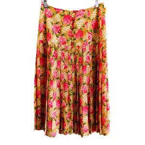 Vintage Italian Silk Floral Pleated Skirt